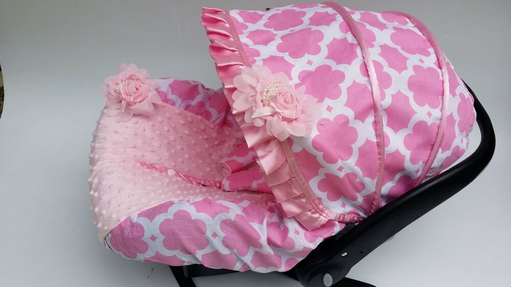 baby car seat cover canopy cover pink flower fit most infant car seat ebay. Black Bedroom Furniture Sets. Home Design Ideas