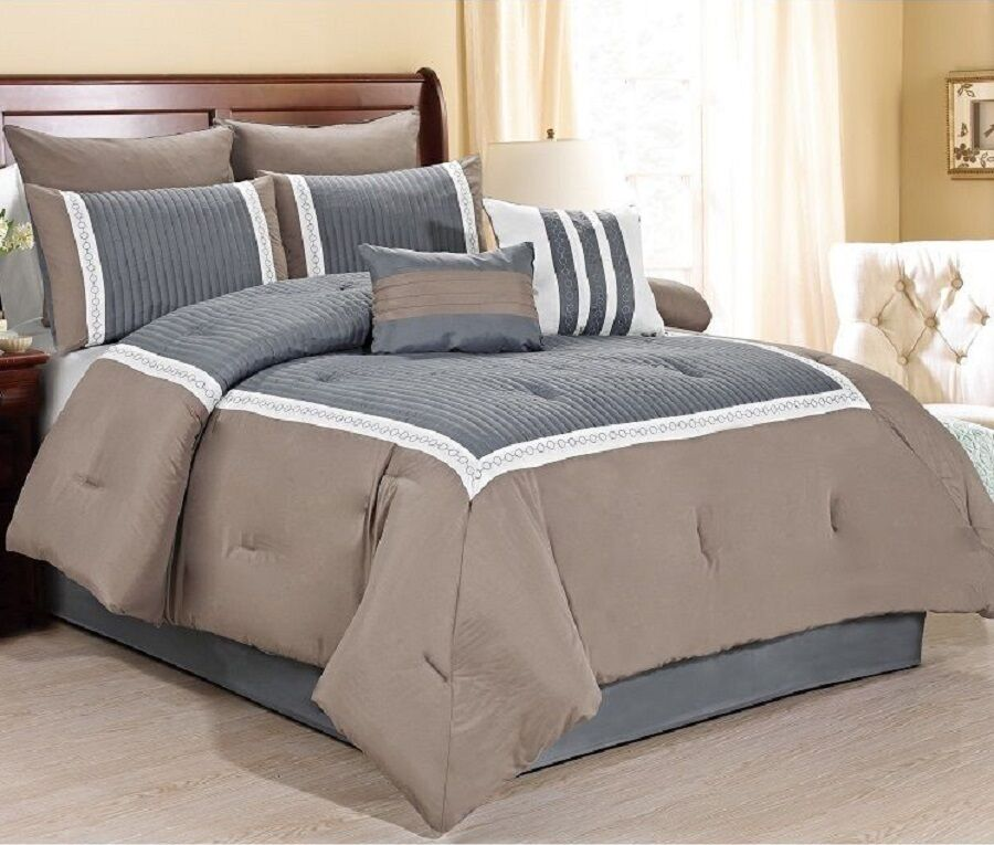 New luxurious 8 piece quilted comforter set king size for Bed sets with mattress included