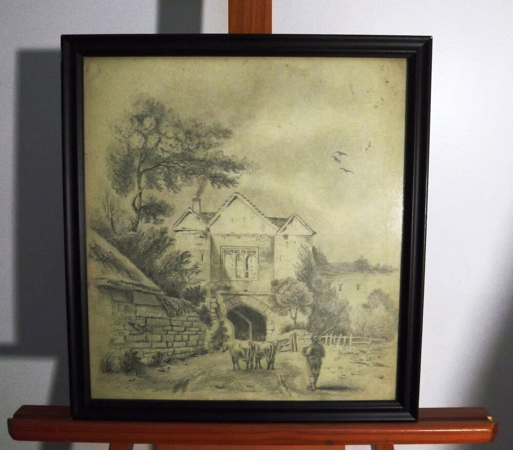 Details about 1841 pencil drawing very scenic peaceful village farmer cows
