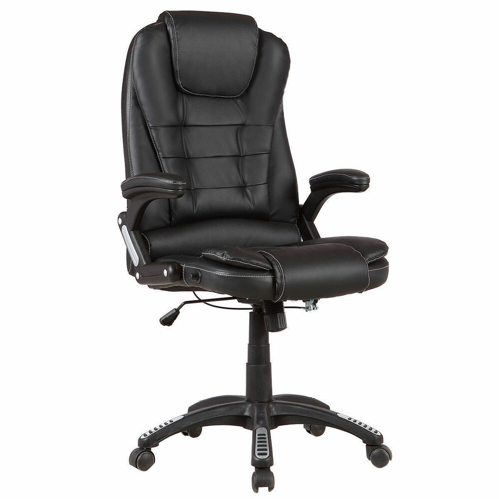 back recliner pu leather office chair desk task swivel black ebay
