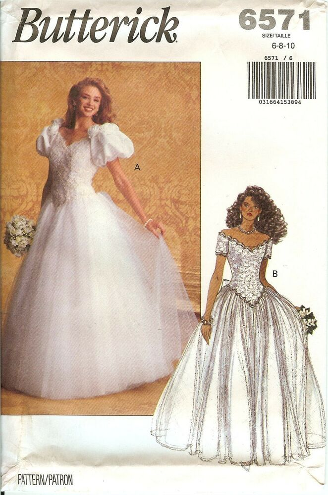 Butterick 6571 bridal wedding gown dress sewing pattern for Butterick wedding dress patterns