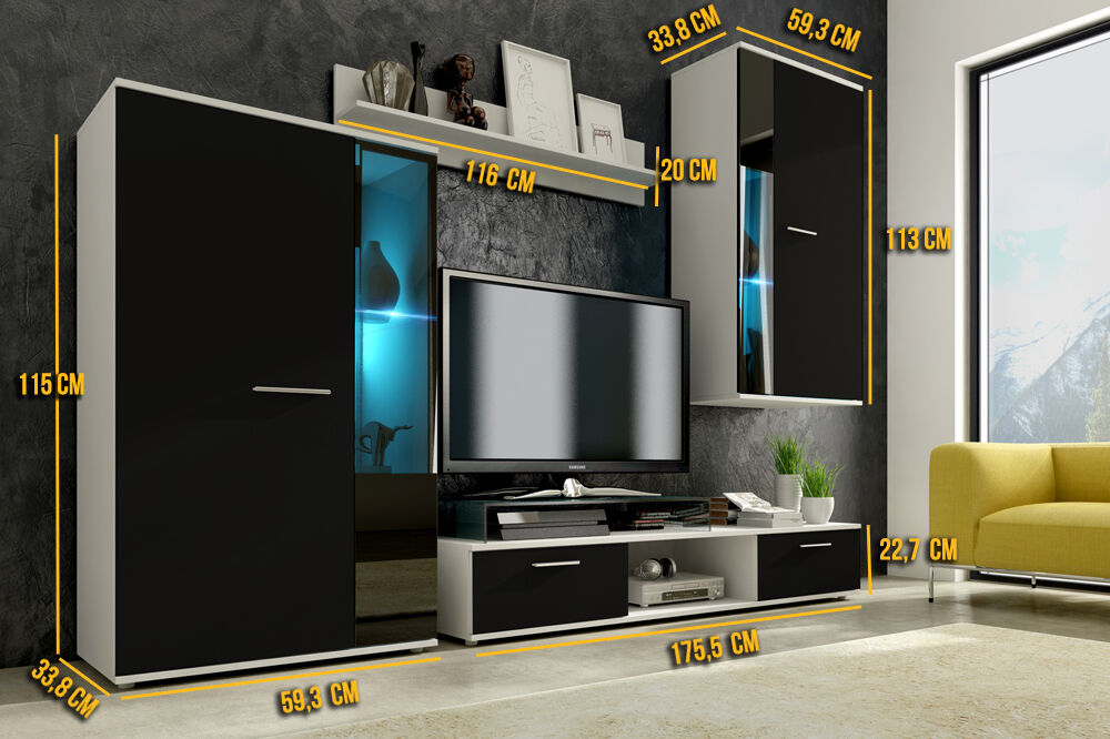 Wall unit furniture living room tv stand black white led for Ebay living room lights