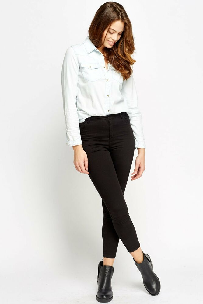 Details about Ex Bershka New Short leg lenght Women s High Waisted Black  Skinny Jeans Spandex 93a493a89