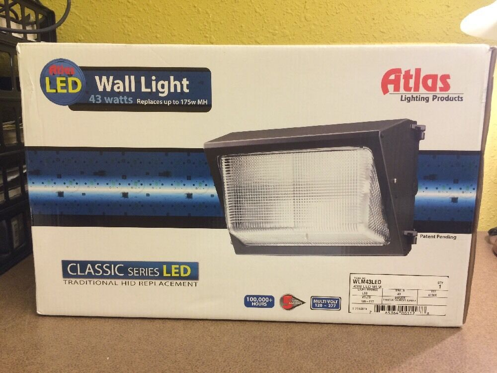 New atlas lighting wlm43led 43w led wall light traditional wall pack ebay - Consider led wall pack lighting home ...