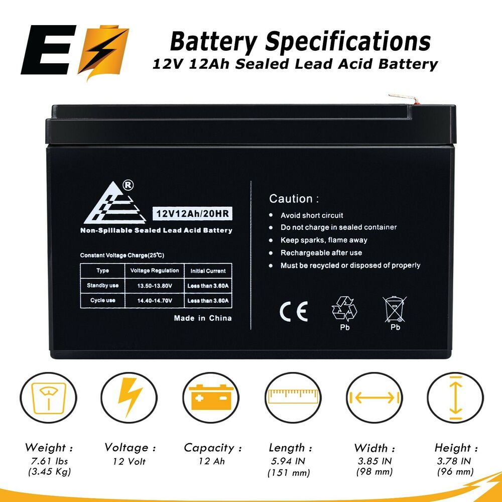 12v 12 volt 12ah sealed lead acid battery ebay. Black Bedroom Furniture Sets. Home Design Ideas