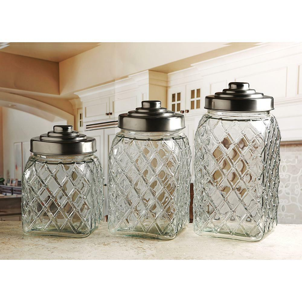 New circleware 3 pc embossed glass canisters kitchen for Kitchen set 3 meter