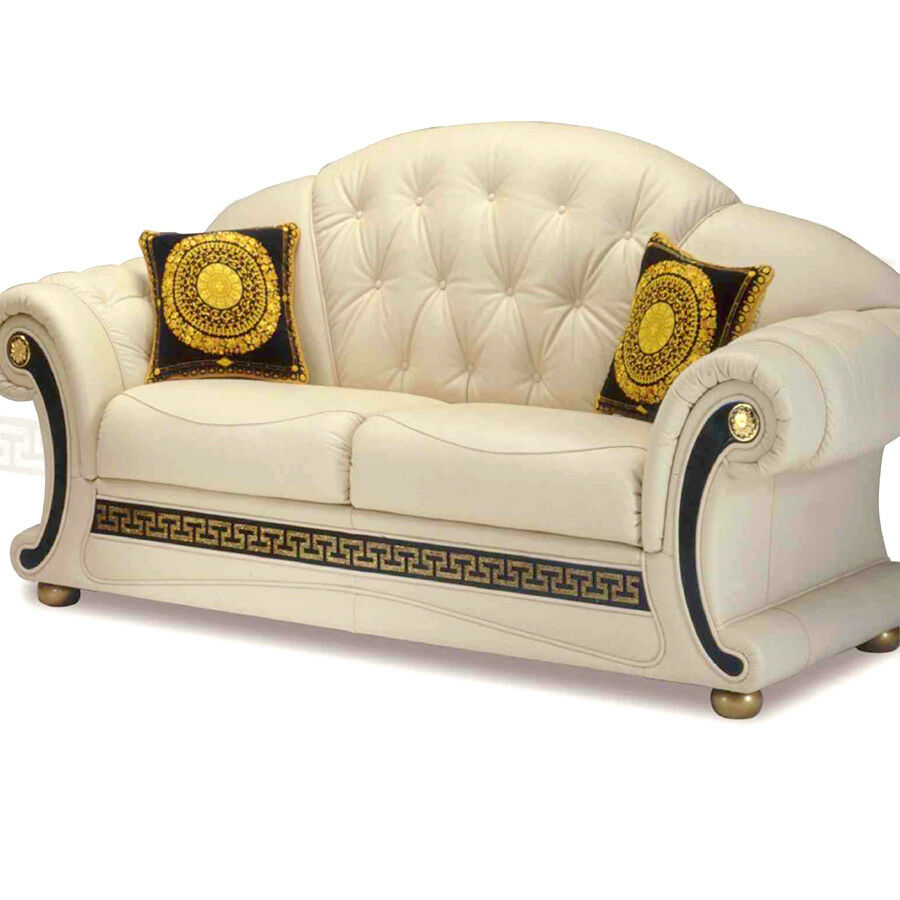 m ander couchgarnitur leder sofa beige 3 2 1 mit goldenem m ander muster versac ebay. Black Bedroom Furniture Sets. Home Design Ideas