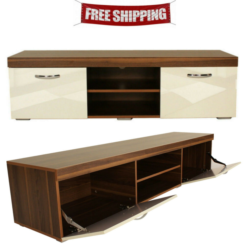 Tv Stand Wooden Cabinet Modern Living Room Unit Flat Screens Furniture White New Ebay