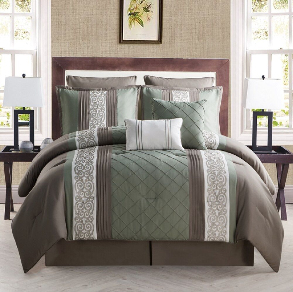8 Piece Comforter Bed In A Bag Set Embroidered Bedding