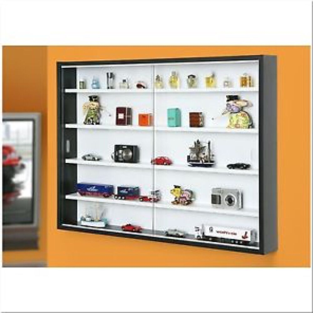 collectors glass display cabinet adjustable 4 shelves black wall mounted ebay. Black Bedroom Furniture Sets. Home Design Ideas