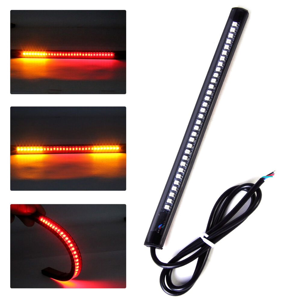 32 led flexibel motorrad r cklicht bremslicht blinker streifen licht universal ebay. Black Bedroom Furniture Sets. Home Design Ideas