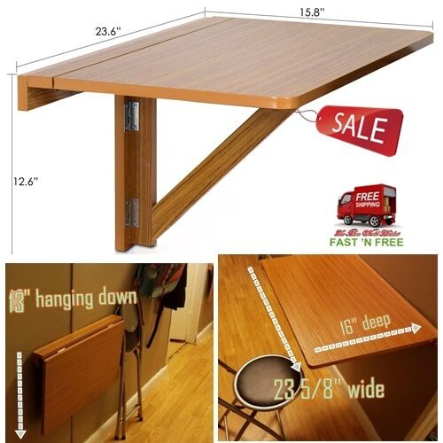console table wall mounted folding wood drop leaf board counter cherry