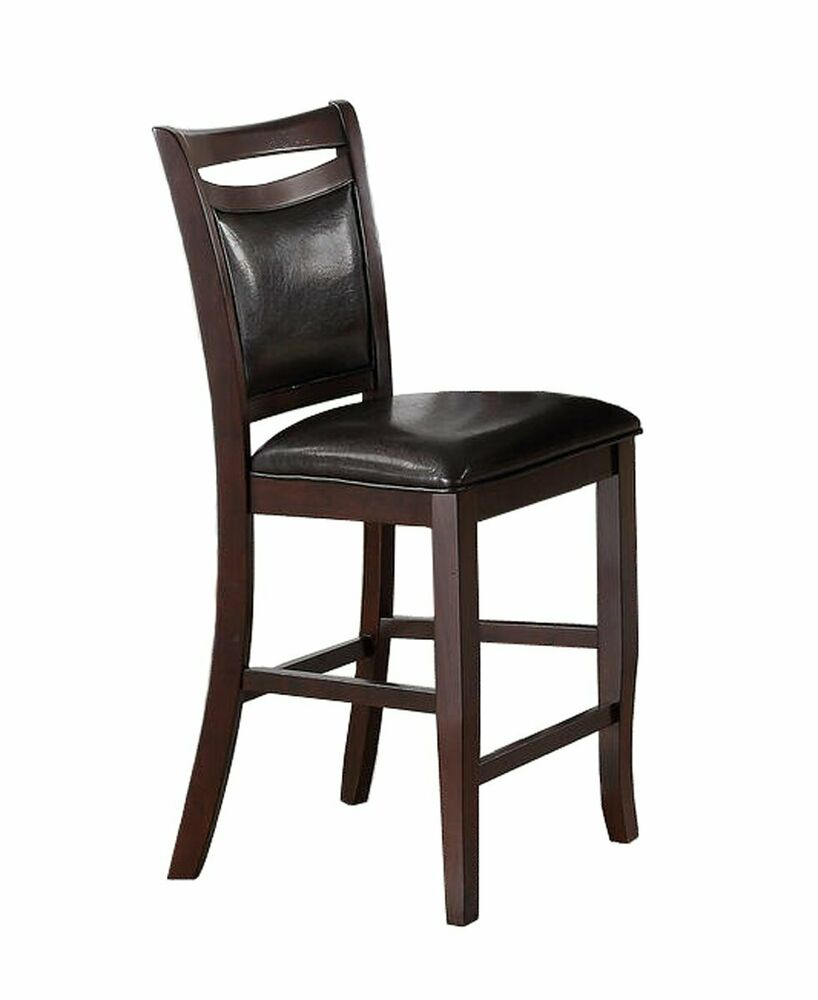 Set Of 4 Leather Tufted Counter Height Stools 24 Seat