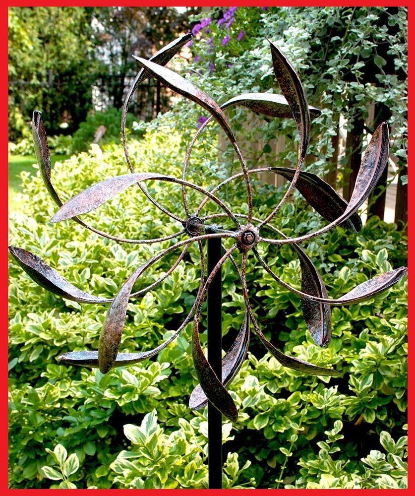 Wind spinner garden yard decor kinetic windmill dual for Outdoor wind spinners