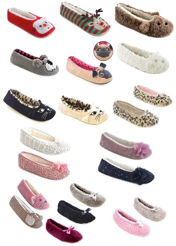 LADIES WOMENS GIRL NOVELTY BALLET PUMP SLIPPERS COZY SOFT