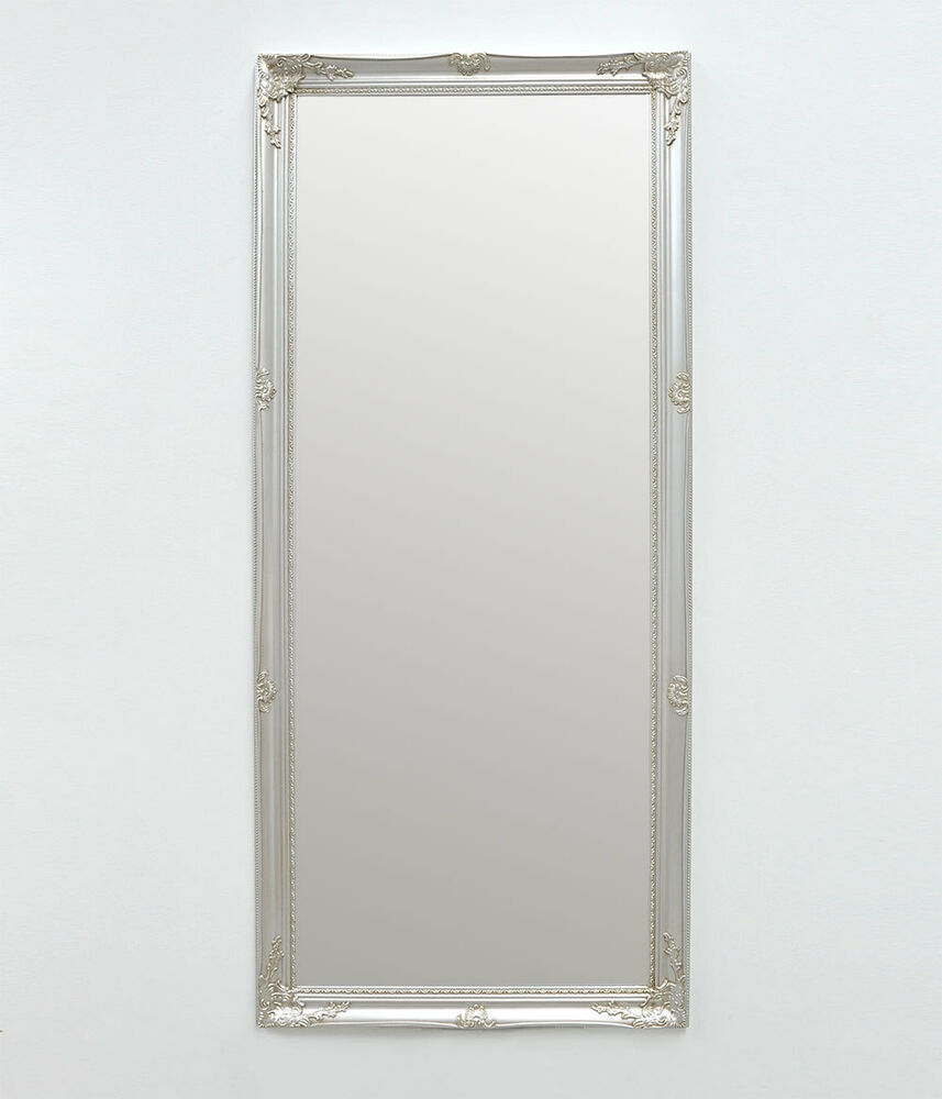 Antique silver large framed wall mirror provincial chic for Silver framed mirror