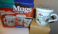 SET OF 4 PORCELAIN MUGS WITH LIDS / COASTER NEW IN BOX