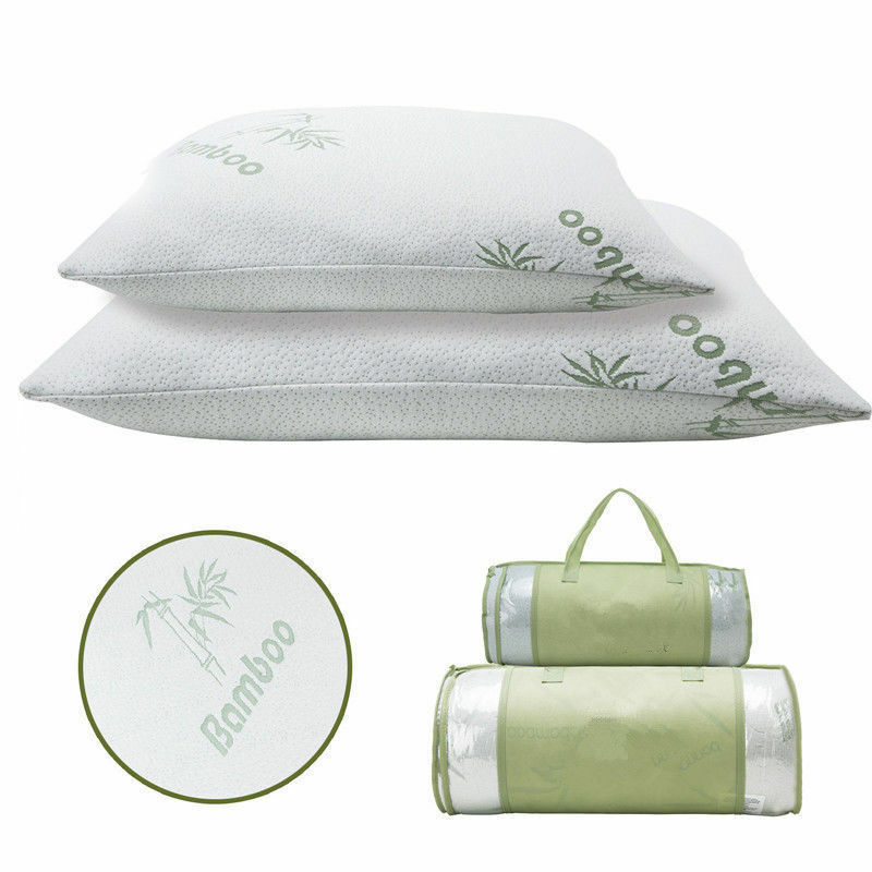 2 Pack Bamboo Memory Foam Bed Pillow Queen/King Size Hypoallergenic w/Carry Bag eBay