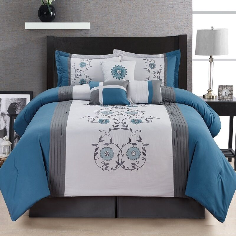 7 piece comforter set queen size bedroom bedding bed in a bag bedspread blue new ebay. Black Bedroom Furniture Sets. Home Design Ideas