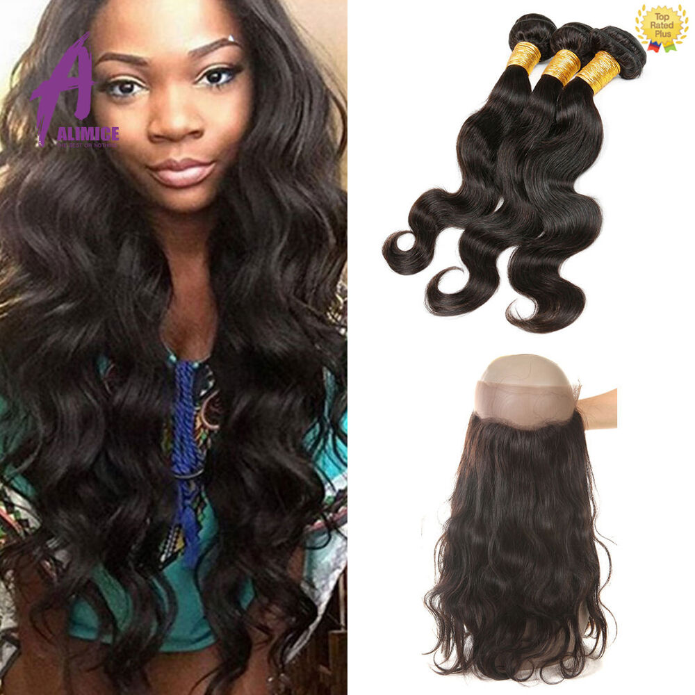 360 Lace Frontal Closure With 3 Bundles Brazilian Hair Bundles Human