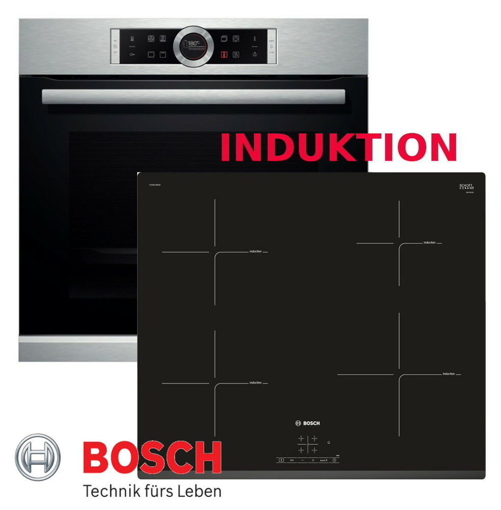 bosch herdset induktion herd autark backofen silber induktion kochfeld neu ovp ebay. Black Bedroom Furniture Sets. Home Design Ideas