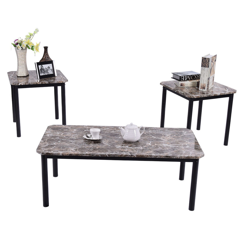 3 piece modern faux marble coffee and end table set living for Living room table sets