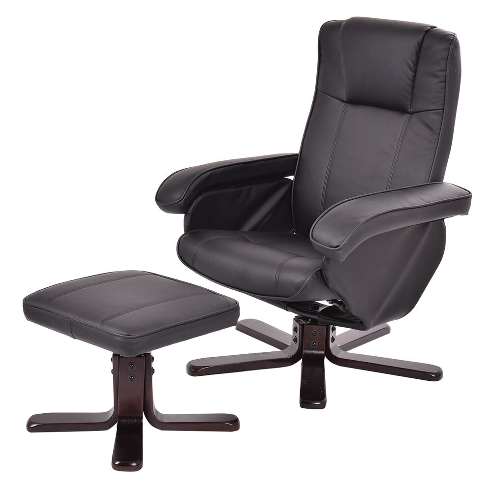 leather executive chair leisure recliner swivel furniture w ottoman
