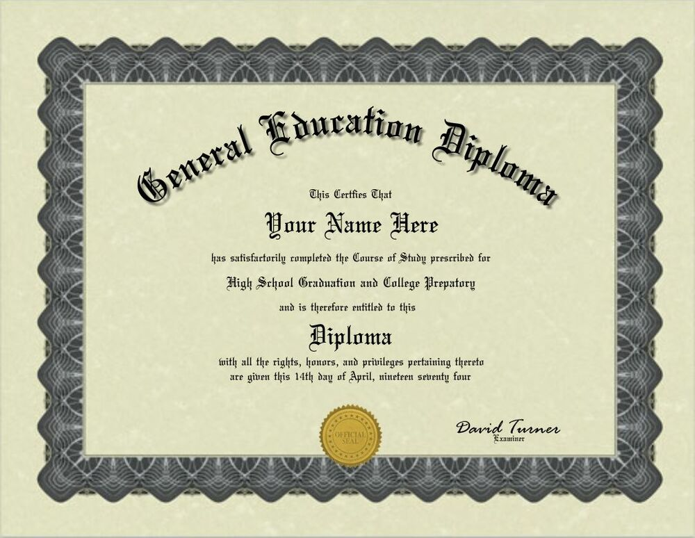 ged diploma certificate education seal general bordered personalized custom paper