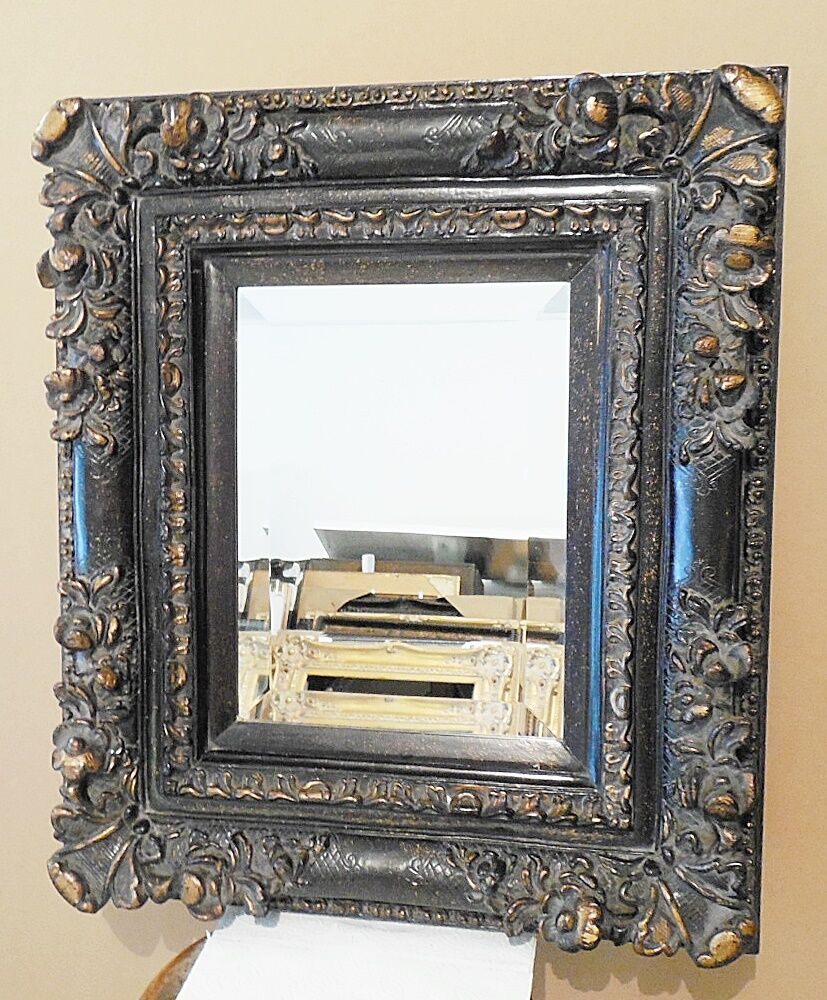 Large solid wood 25x29 rectangle beveled framed wall for Large wall mirror wood frame