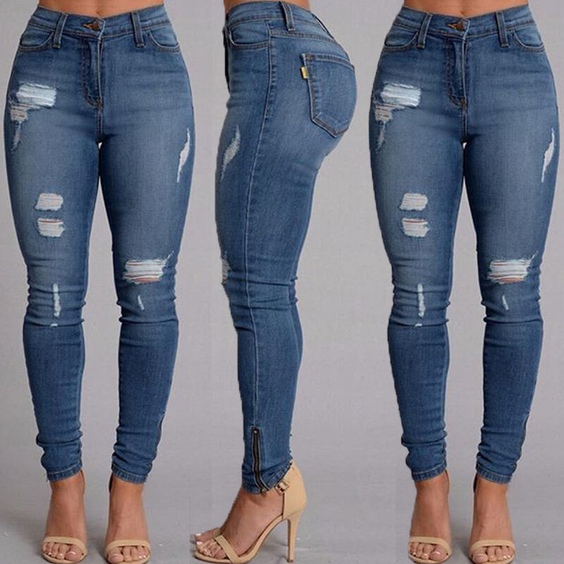 WOMENS HIGH WAISTED RIPPED KNEE SKINNY JEANS LADIES ... - photo#12