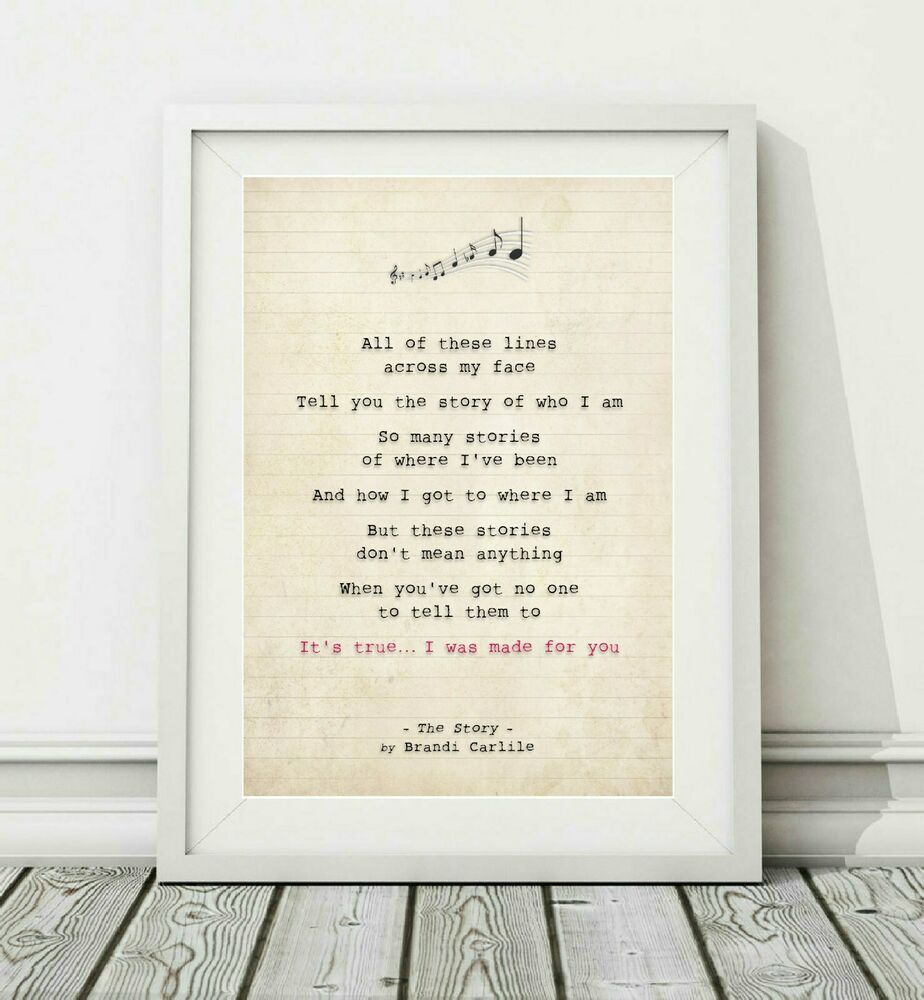 The Story Brandi Carlile: Song Lyric Art Poster