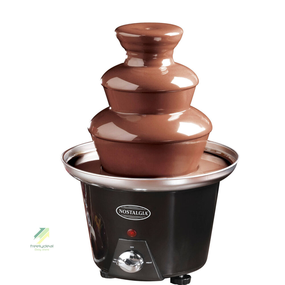 2 tier mini nostalgia chocolate fondue fountain maker electric machine set ebay. Black Bedroom Furniture Sets. Home Design Ideas