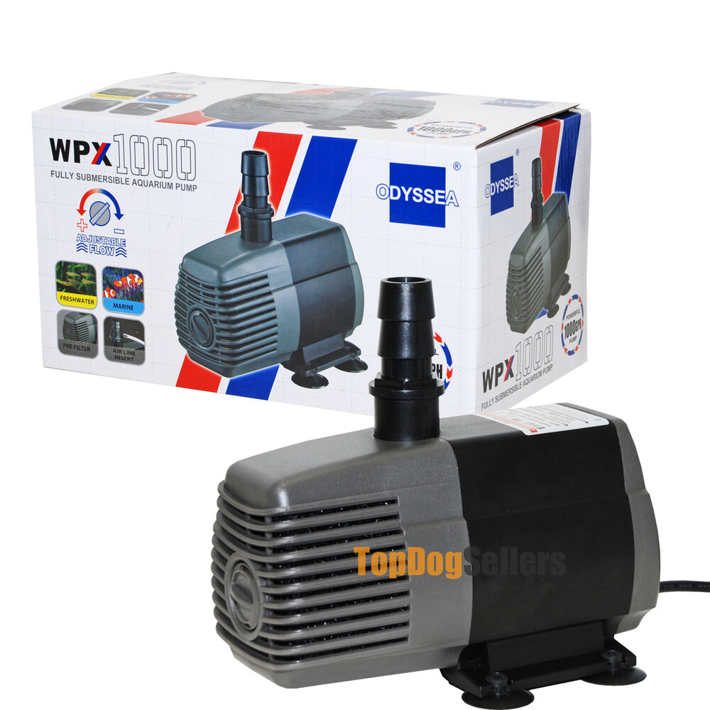 Wpx 1000 gph odyssea aquarium submersible water pump for Best small pond pump