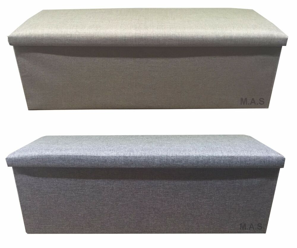 Ottomans Lucia Storage Chest Grey Fabric: 3 SEATER LARGE OTTOMAN FAUX LINEN FOLDING STORAGE TOY BOX