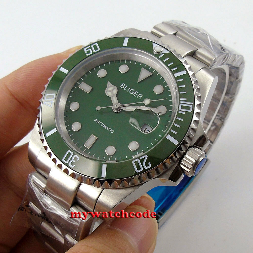 Vintage 40mm bliger green dial sapphire crystal automatic movement mens watch 66 ebay for Auto movement watches
