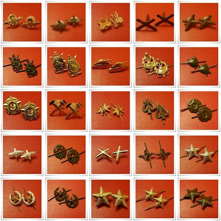 img-Authentic Soviet Army Uniform Branch Insignia Badges Shoulder Board/Collar Stars