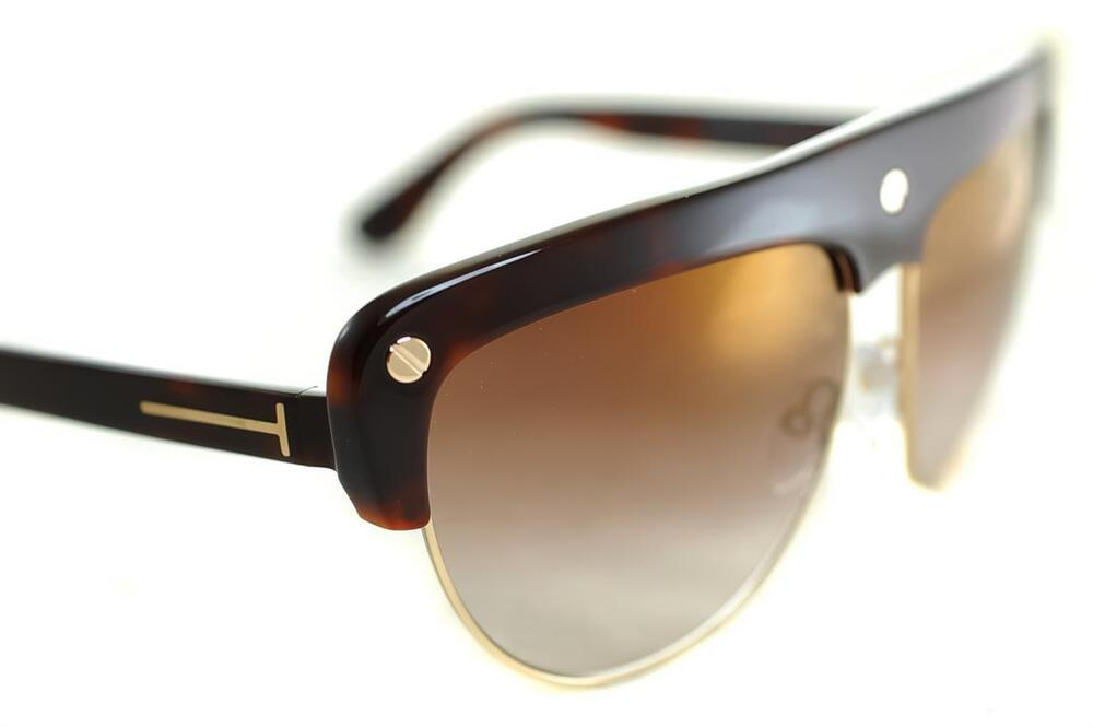 928cbac859580 Details about TOM FORD LIANE TF318 52G Women OVERSIZED FLAT TOP Sunglasses  BROWN GOLD MIRROR