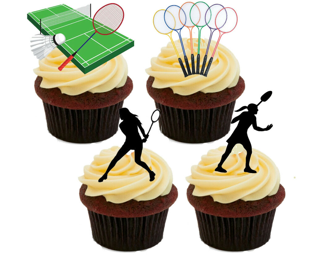 Badminton Players Edible Cupcake Toppers, Fairy Cake Bun Decoration ...