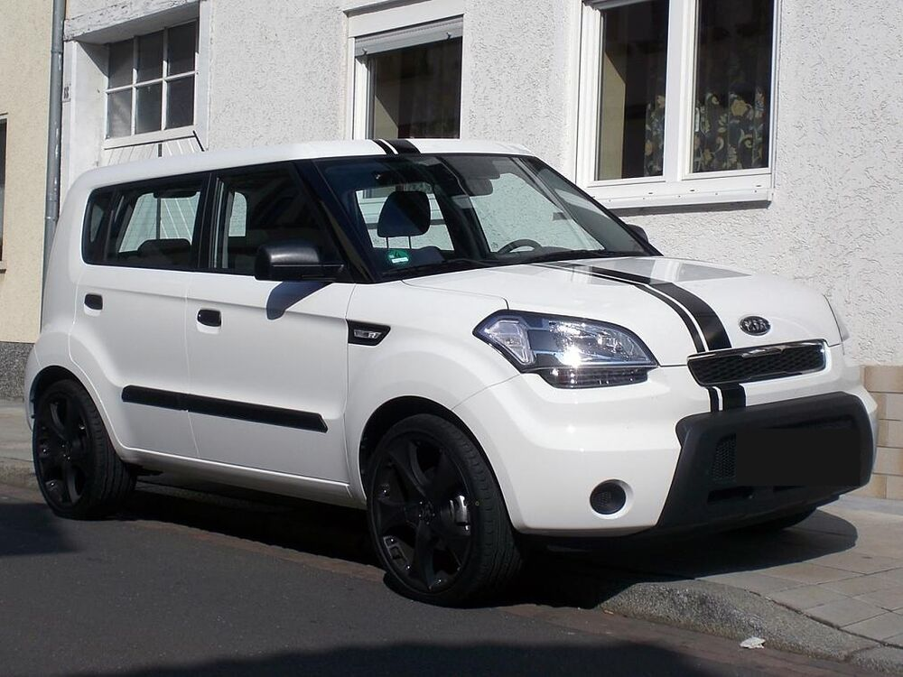 """Black Kia Soul >> 5"""" offset Rally Stripe Stripes Decals Graphics Fit All ..."""