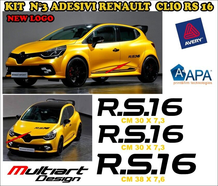kit 3 adesivi sticker per new clio rs 16 trophy renault sport nuovo logo 2016 ebay. Black Bedroom Furniture Sets. Home Design Ideas