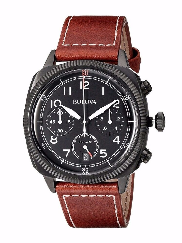 Bulova men 39 s 98b245 military chronograph quartz brown leather strap watch ebay for Watches bulova