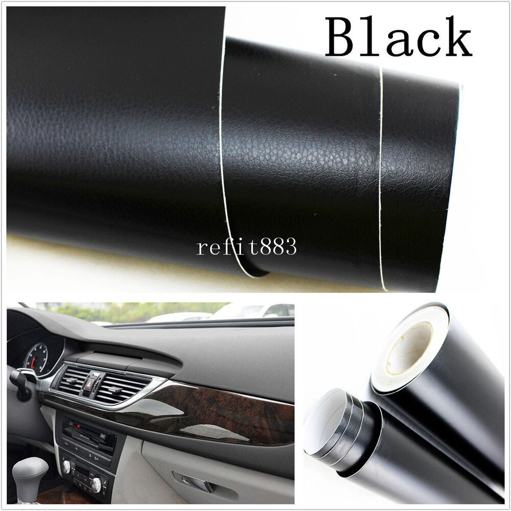 car suv interior exterior trim 3d black leather texture sheet film vinyl sticker ebay. Black Bedroom Furniture Sets. Home Design Ideas