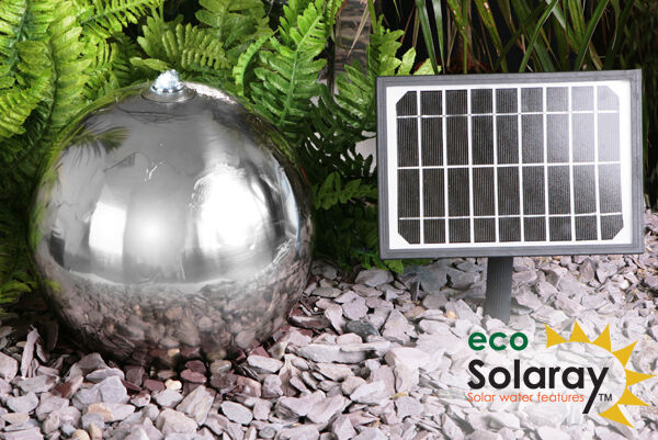 45cm Stainless Steel Solar Powered Sphere Water Feature