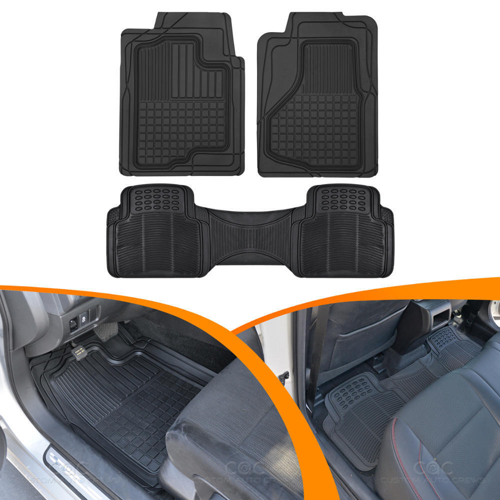 Front Amp Rear Rubber Floor Mats For Auto Car Suv Heavy Duty