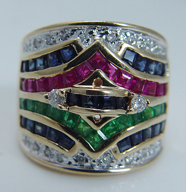 Estate 14K Yellow Gold Emerald Ruby Sapphire Diamond Wide ...