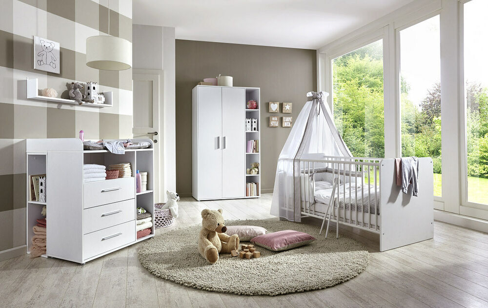 babyzimmer kinderzimmer komplett set babym bel komplettset umbaubar kim 2 wei 4260593569902 ebay. Black Bedroom Furniture Sets. Home Design Ideas