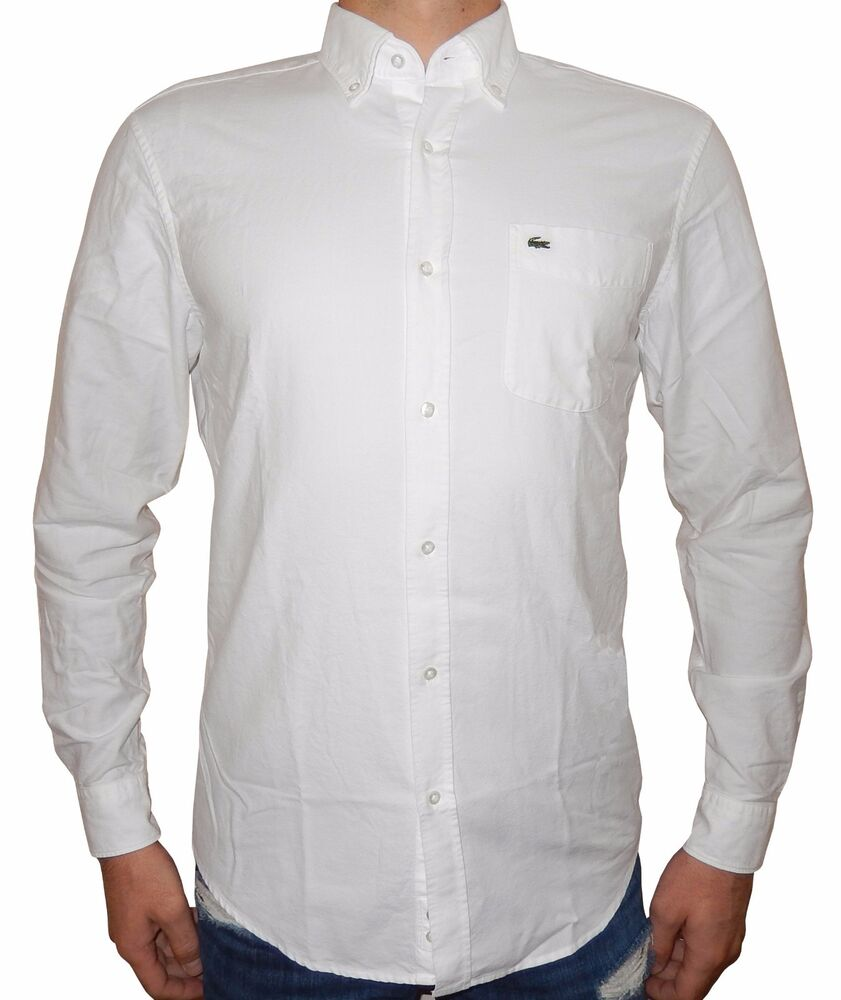Lacoste men 39 s regular fit long sleeve button down oxford for Men s oxford button down shirts