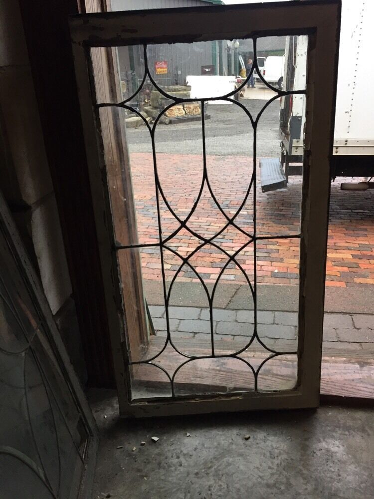 Leaded Stained Glass : Sg antique leaded glass window transom ebay