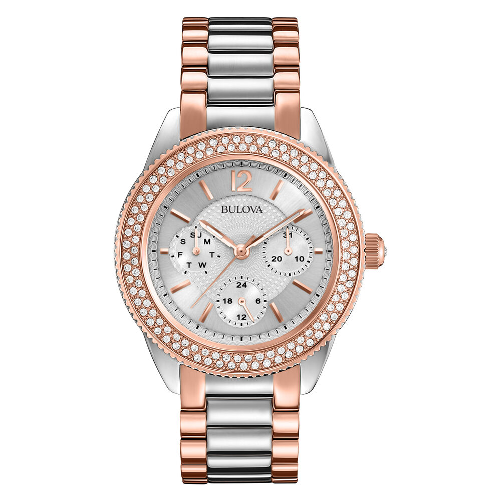 Bulova women 39 s 98n100 swarovski crystals chronograph quartz two tone dress watch 42429497535 ebay for Watches bulova