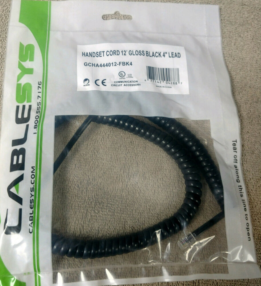 """Cablesys Flat Black 25 Ft Phone Handset Cord Coil Telephone 4P4C 4/"""" Tail Lead"""